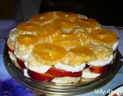 Зефирный торт с фруктами