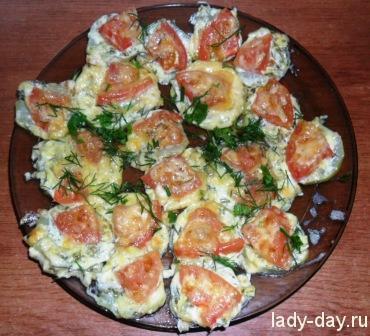 -Кабачки в духовке с помидорами