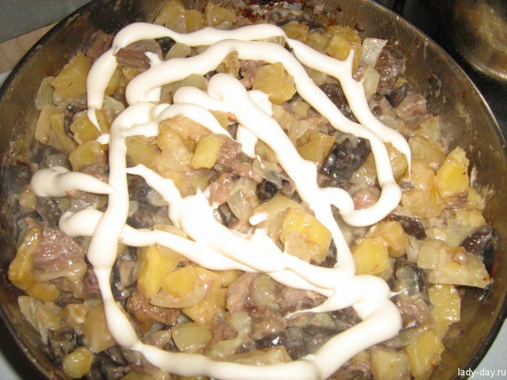 Запеканка с грибами и курицей в духовке рецепт