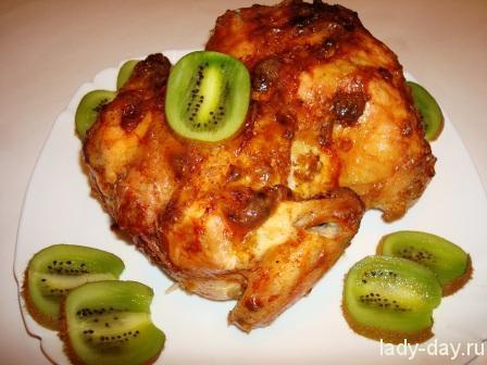 Запеченная курица с чесноком