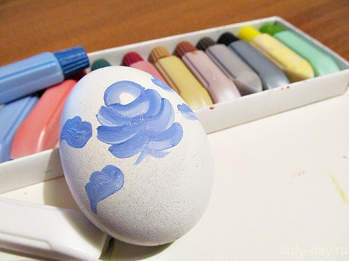 Роспись яиц под Гжель