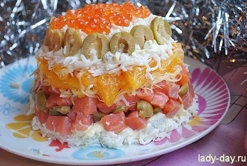 салат с форелью и апельсином
