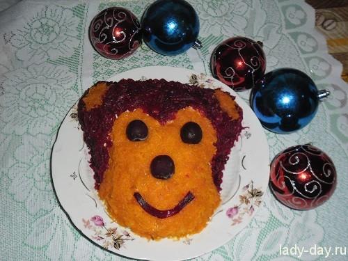 Новогодние салаты рецепты с фото обезьянка