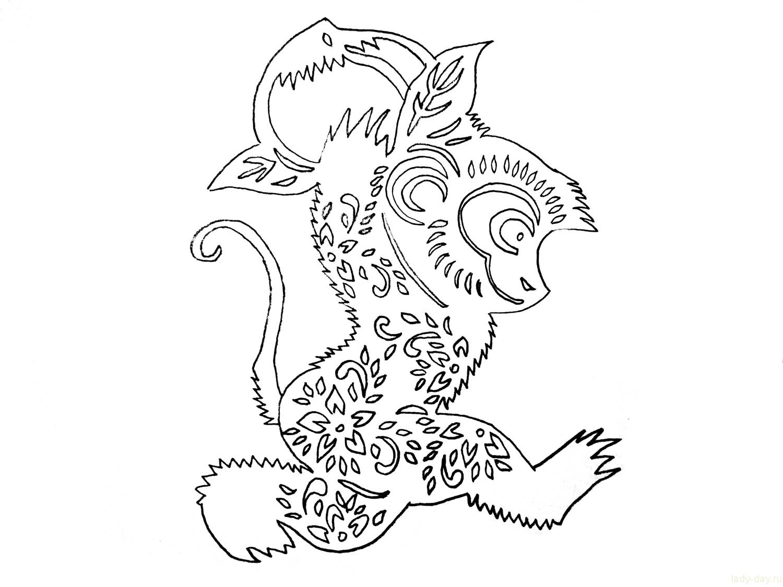 Трафарет обезьянки на новый год своими руками