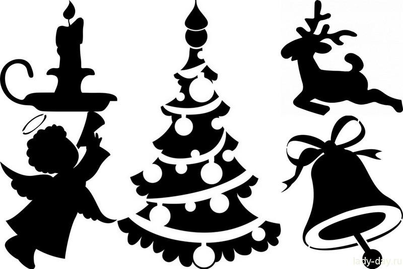 Трафареты для украшение окон на новый год