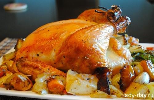 курица целая запеченная в духовке рецепты с фото