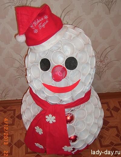 Снеговик своими руками из бумаги пошагово