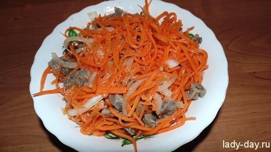 простые салаты с куриными желудками
