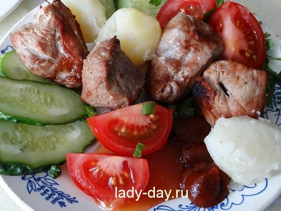 шашлык и овощи