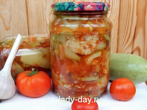 Тещин язык из кабачков с помидорами