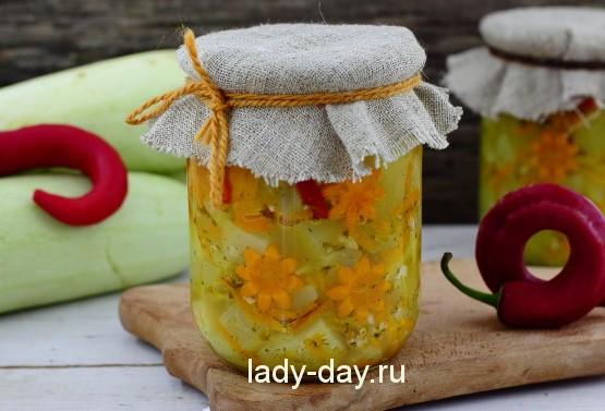 рецепт салата в зиму из кабачков и фасоли