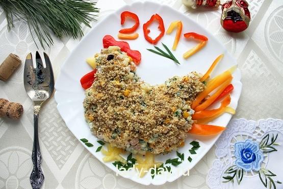 Салат «Петушок» на новый год 2017 с фото