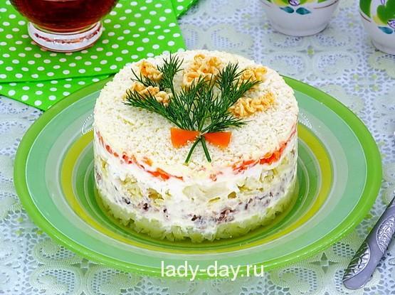 Салат мимоза с консервами рецепт с фото