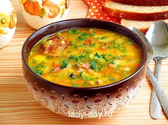 Гороховый суп с копченостями ребрами рецепт пошагово
