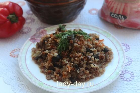 Гречка с грибами и луком, и морковью, Простые рецепты с фото