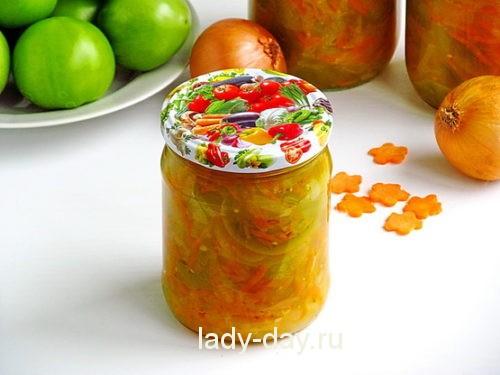 Салат из зеленых помидор на зиму рецепт