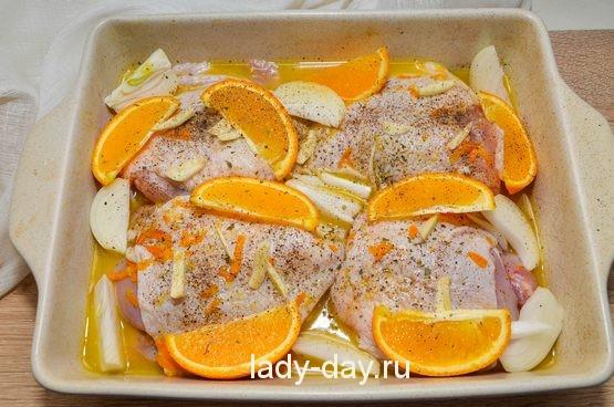 курица с апельсинами в духовку