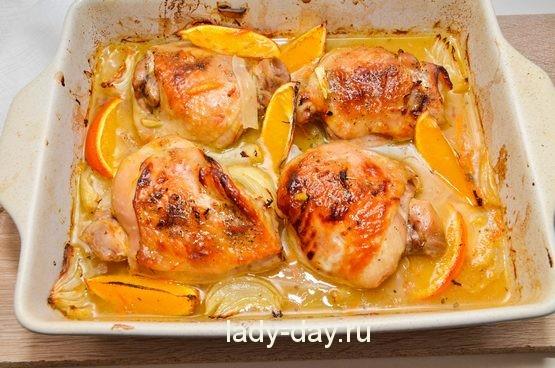 запеченная курица с апельсинами в духовке