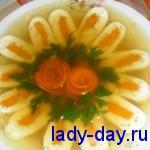Заливное блюдо из куриного филе с желатином