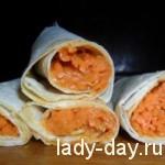 Лаваш с корейской морковкой