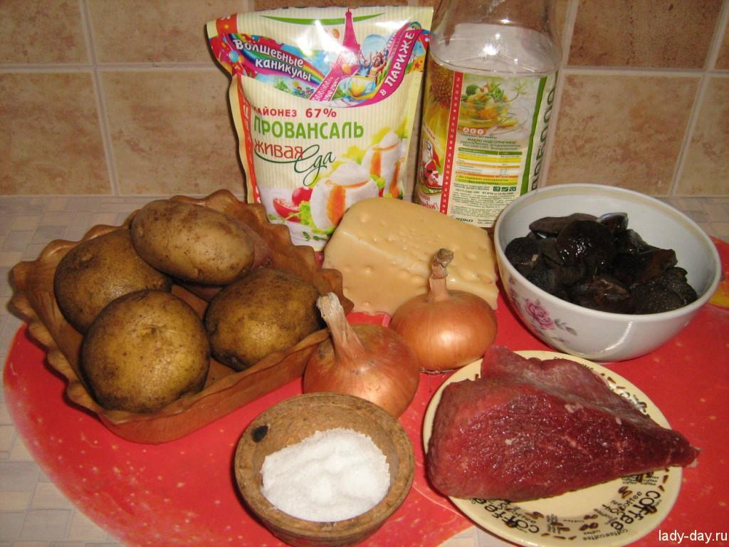Картошка с грибами и мясом