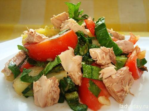 Салат с тунцом и картофелем