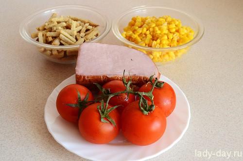 Вкусный салат с сухариками