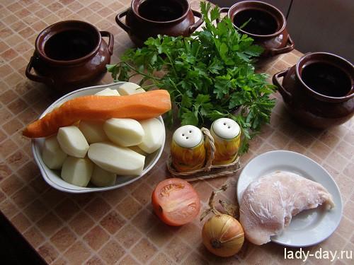Картошка с мясом в горшочке