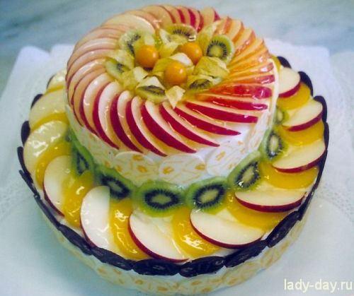 Холодный торт с фруктами