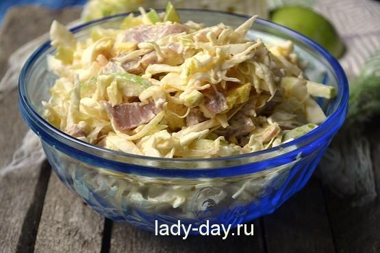 салат из свежей капусты с курицей рецепт с фото