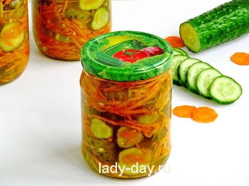 Салат из огурцов по-корейски на зиму пальчики оближешь