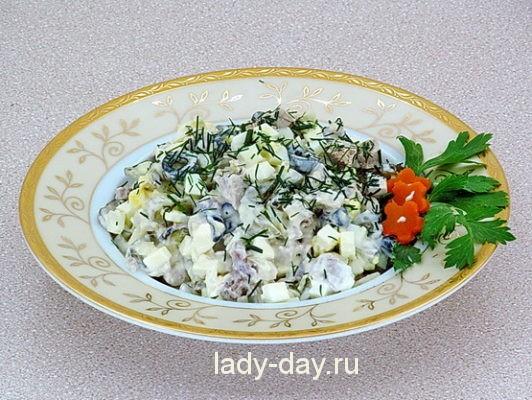 Салат с оливками, простой рецепт