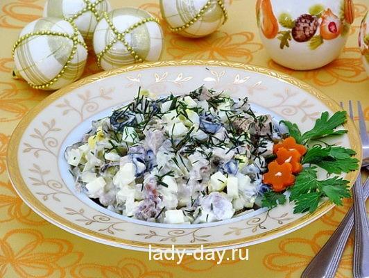 Салат с оливками, рецепт