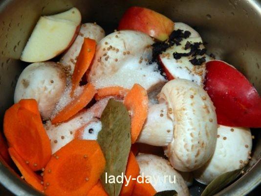 грибы, яблоки, морковь