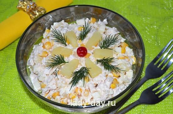 Салат из курицы с ананасом, рецепт с фото очень вкусный