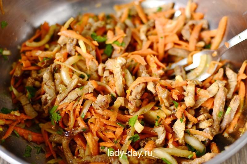Обжаренные овощи с мясом