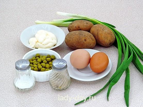 Салат из картофеля, яиц, горошка, ингредиенты