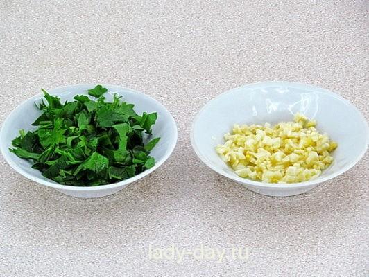 чеснок и зелень