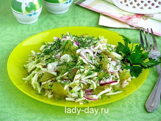 Салат из кабачков с огурцами, рецепт с фото