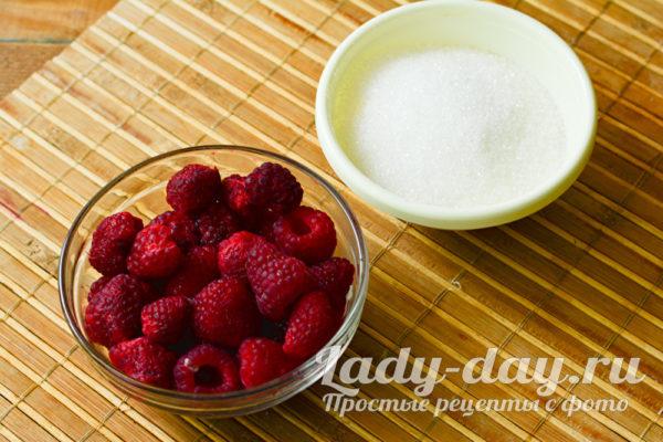 ингредиенты для малины с сахаром