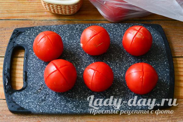 помидоры с надрезами