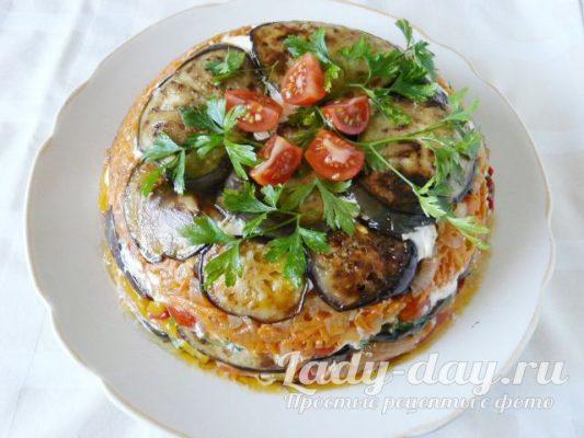 торт из баклажанов с помидорами