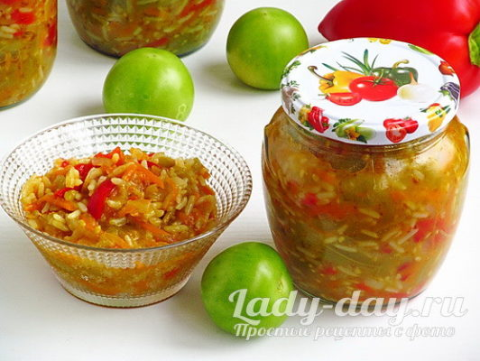 салат с рисом на зиму