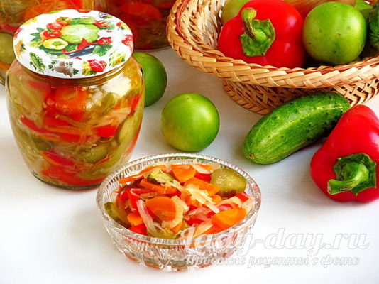 салат на зиму с зелеными помидорами