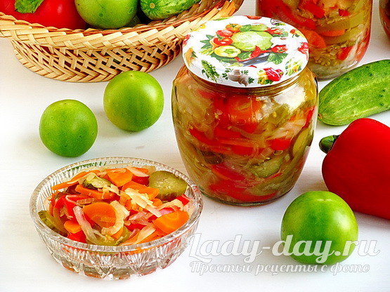 Салат с зелеными помидорами на зиму, рецепт с фото - пальчики оближешь