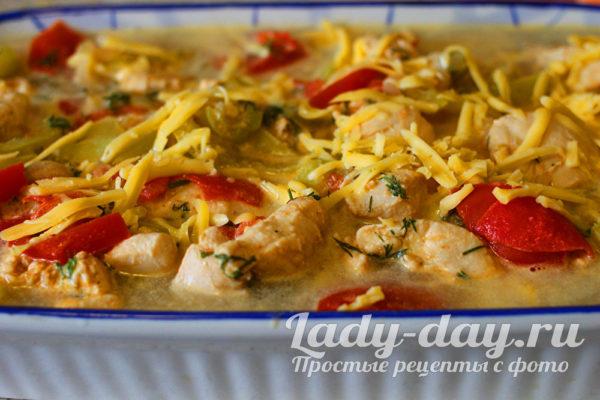 макаронная запеканка с овощами и филе