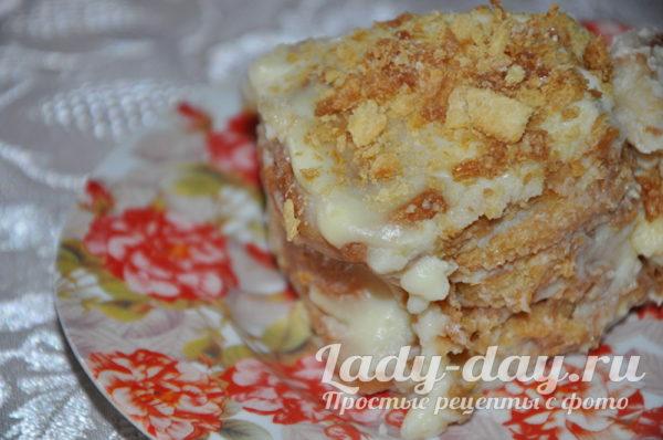 Торт «Наполеон» без выпечки из печенья
