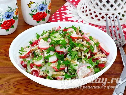 Салат с крабовыми палочками, рецепт с фото