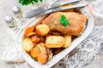 Запеченный минтай с картошкой
