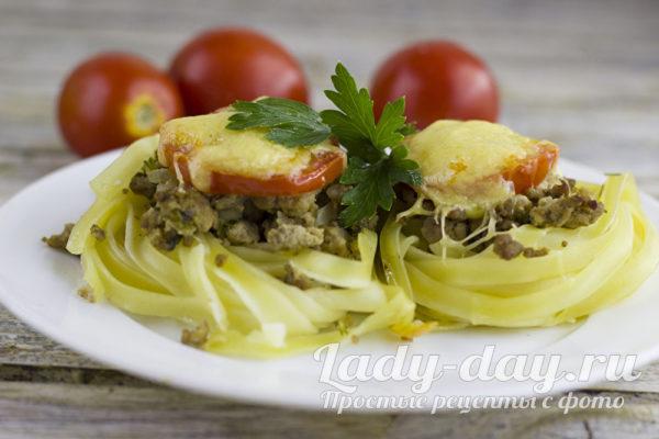 Гнезда из макарон с фаршем в духовке, рецепт